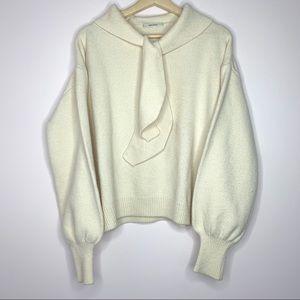 EFONI Heavy Wool Bell Sleeved Tie neck Sweater